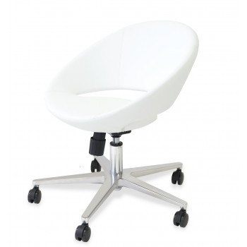 Crescent Office Chair, Base A1, White PPM by SohoConcept Furniture