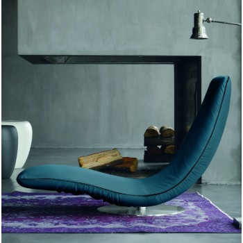 Ricciolo Chaise Lounge, Night Blue Eco-Leather