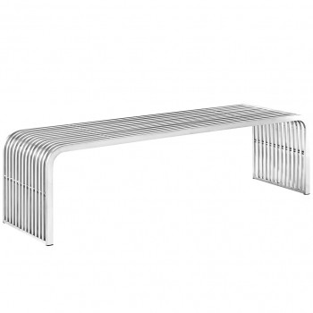 Pipe Stainless Steel Bench 3, Silver by Modway