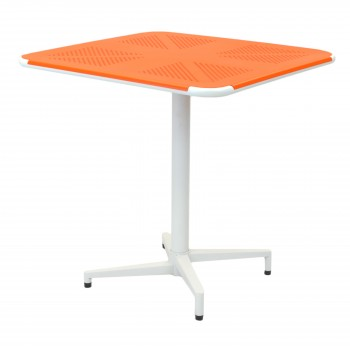 Colt Metal Folding Square Table, Orange + White by NPD (New Pacific Direct)