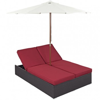 Convene Double Outdoor Patio Chaise With Umbrella, Espresso, Red by Modway